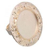 Основа для кольца (набор 2шт), регул-й раз-р,площадка 20мм, J009, цвет золото
