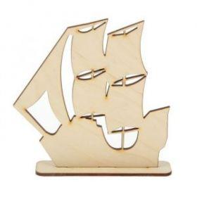 """Фигурка для декора из фанеры на подставке """"Парусник"""" 13х13 см (набор 2 детали)"""