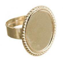 Основа для кольца, овал, площадка 14*18мм (набор 5шт) регул-й раз-р, цвет золото