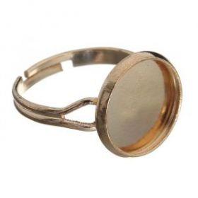 Основа для кольца площадка 14мм (набор 5шт) регул-й раз-р, цвет золото