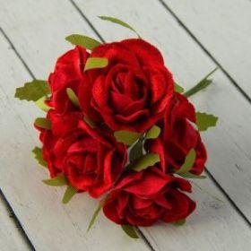 """Декор для творчества """"Бархатные розы"""" (1 набор=1 букету) 12 см d=4,5 см МИКС"""