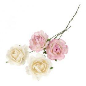 Декор для творчества, d=35 мм, набор 2 шт. - белые, 2 шт. - бело-розовые